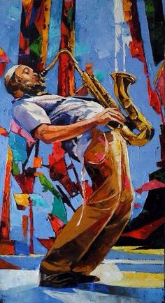 Musician Saxophonist Abstract Pallette Knife by art4heart2014
