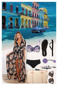"""""""Pack and Go Cuba Draft"""" by lovelylilly18 ❤ liked on Polyvore featuring Gentle Monster, Globe-Trotter, Robyn Lawley, Reef and Bling Jewelry"""