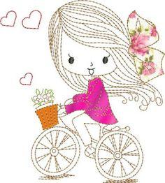 Bonito Bordado: Niña Gratis !! Embroidery On Kurtis, Towel Embroidery, Hand Embroidery Videos, Hand Embroidery Tutorial, Embroidery Patterns Free, Hand Embroidery Designs, Embroidery Stitches, Stick Figure Drawing, Art Drawings For Kids