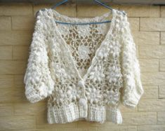Crochet Shrug Cardigan Sweater Elbow Sleeve Crop Top