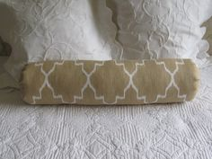 Ikat Straw on white SINGLE super long bolster by theBolsterQueens