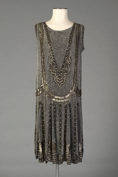 Ephemeral Elegance | Beaded and Sequin Chiffon Evening Dress, ca. 1920s...
