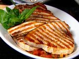 Swordfish with Tomatoes and Capers, good party dish because the ragu can be made ahead and then all served at room temp.