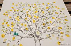 RESERVED (for Jen Harrison) Guest book fingerprint tree, SMALL greak oak (drawing with 3 ink pads). $78.00, via Etsy.