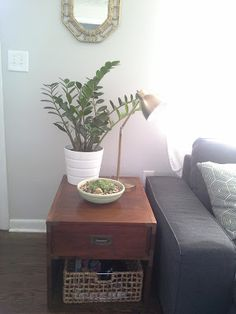 Side end table, plants, gold brass lamp campaign furniture organizing baskets