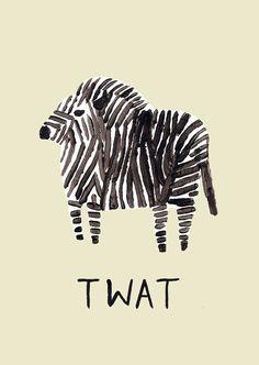 TWAT rude zebra print by Oh My Gee