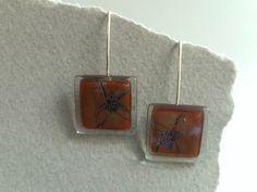 Pendientes colgantes vidrio y plata ley bellota de BGLASSbcn por DaWanda.com