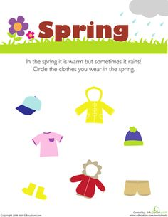 Preschool Weather & Seasons Worksheets: What Do You Wear in the Spring?