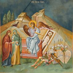 Myrrhbearers at the tomb Religious Icons, Religious Art, Pictures To Draw, Art Pictures, Christ Is Risen, Byzantine Icons, Biblical Art, Holy Week, Orthodox Icons