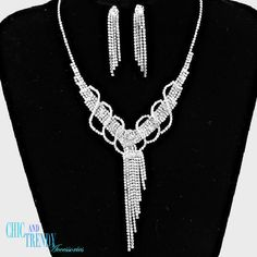 STUNNING CLEAR CRYSTAL PROM WEDDING FORMAL NECKLACE JEWELRY SET CHIC AND TRENDY #Unbranded