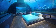 After years of construction, the world's first underwater hotel has officially opened in the Maldives. The hotel, part of the Conrad Maldives. Hotel Subaquático, Das Hotel, Hotel Suites, Maldives Underwater Hotel, Underwater Bedroom, Maldives Villas, Underwater House, Underwater Images, Gili Lankanfushi