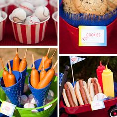 With any get-together, food is always the VIP. Love the sundae cups to hold mustard for the corn dogs.