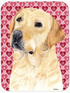 Labrador Yellow Hearts Love and Valentine's Day Glass Cutting Board Large