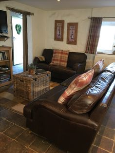 Fab new leather sofas! Hay Barn, Leather Sofas, Dog Friends, Cottage, Couch, Furniture, Home Decor, Leather Couches, Settee