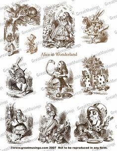 Sepia Alice In Wonderland Download Digital Collage by GreatMusings