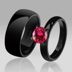 Black Couple Rings Engagement/Wedding Ring Solitaire Red Corundum
