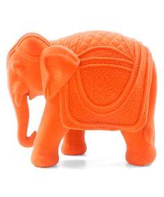 Another great find on #zulily! Neon Orange Velvet Elephant Figurine #zulilyfinds