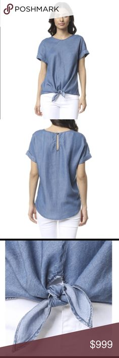 🍉Short Sleeve Chambray Style Top Great versatile top to transition from summer to fall layering. Very cute and flattering to any body type!  _____________________   •Sizes: S = 2/4, M = 6/8, L = 10/12 -- Fabric: Tencel Blend Naked Zebra Tops Tunics