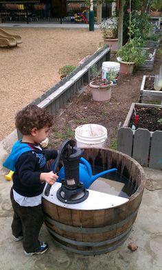 barrel pumps in the outdoor classroom