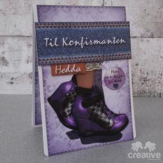 H♥BBYSYSLER: Konfirmasjonskort i lilla og jeans