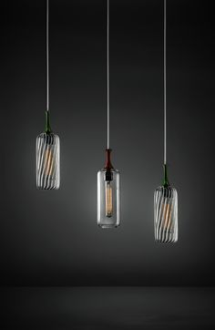 Products 2015 - Gala - Suspension lamp / Hanging pendant - Glass handmade - Bottle shaped with colored neck  - Suitable for vintage lamps - Beautiful and decorative for interior - Design by ILIDE (www.ilide.it)