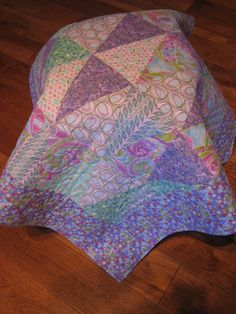 Quilted Baby Quilt Paisley Pastel Aqua Purple and by TahoeQuilts