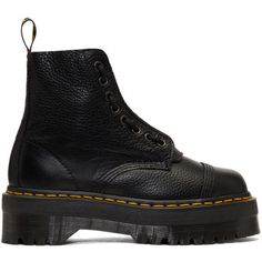 Dr. Martens Black Quad Retro Sinclair Boots (5 755 UAH) ❤ liked on Polyvore featuring shoes, boots, black, black platform shoes, lace-up boots, black lace up boots, black round toe boots and zip boots