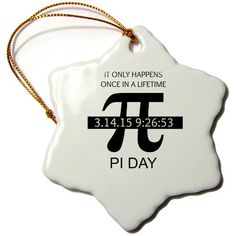 3dRose orn_202810_1 Pi Day Once in a Lifetime Snowflake Ornament, Porcelain, 3-Inch * Tried it! Love it! Click the image. : Wedding Decor