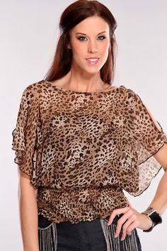 Take this stylish top out for a spin. It will keep you comfy and casual all night. Dress it up or down for a more feminine look. Pair it with a sexy mini skirt or some chic leggings and your favorite pair of heels. All eyes will be on you as you strut your stuff in this adorable top! It features cheetah print, sheer chiffon, smock bottom, built in under strapless shirt, flutter sleeves with shoulder cutouts, and its fitted.