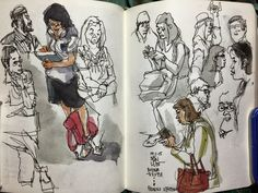 Urban Sketchers: Sketching people on the train, traffic crossing and coffeeshop