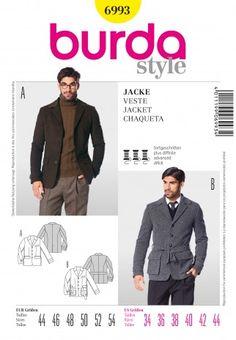 Burda Men's Sewing Pattern 6993 Classic & Sporty Jackets | Sewing | Patterns | Minerva Crafts