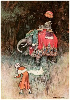 """On a sudden an elephant gorgeously caprisoned shot across his path. From 'The Story of Swet-Basanta'. """"Folk Tales of Bengal"""" illustrated by Warwick Goble Elephant Quilt, Elephant Canvas, Indian Theme, Indian Art, Warwick Goble, 22 November, Illustrators, Fairy Tales, Illustration Art"""