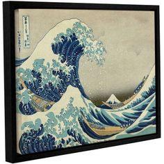 ArtWall Katsushika Hokusai The Great Wave off Kanagawa Gallery-wrapped Floater-framed Canvas, Size: 36 x 48, White
