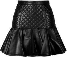 Balmain Leather Quilted Skirt with Flared Hem | #Chic Only #Glamour Always