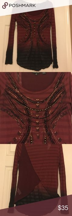 Miss Me top Long sleeve top by Miss Me. A ton of detail on the front and a partially open back. Buckle Tops Blouses