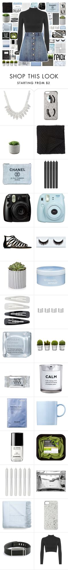 """""""Relax and dream"""" by stelbell ❤ liked on Polyvore featuring Chiara Ferragni, Morgan Collection, Chanel, Tom Dixon, Fujifilm, Jimmy Choo, Aveda, Forever 21, Maison Margiela and This Works"""