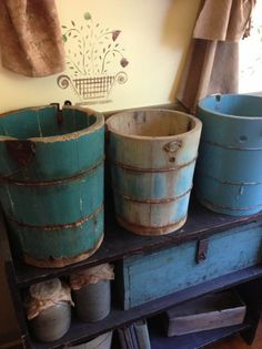 Primitive blue buckets early Primfolks by judy.I have wish I had more, they have character Primitive Kitchen, Primitive Antiques, Country Primitive, Vintage Antiques, Primitive Homes, Antique Decor, Primitive Decor, Country Blue, Country Decor