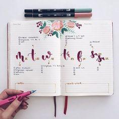 Bullet Journal Planner, Organization Bullet Journal, Bullet Journal Notes, Bullet Journal Themes, Bullet Journal Spread, Bullet Journal Layout, Bullet Journal Inspiration, Journal Ideas, Bullet Journal Lettering