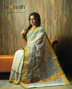 When the North meets the South! #Madhubani crafted on #Kerala_Saree #Laksyah this #Diwali #Boutiques_in_Kochi www.laksyah.com