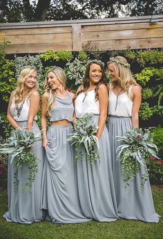 38 Chic And Trendy Bridesmaids' Separates Ideas: grey chiffon maxi skirts and white tops, a grey crop top for the maid of honor