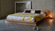 The Oregon bed with a Japanese style twist - printed bedding and solid cherry platform bed from Natural Bed Company Low Platform Bed Frame, Low Bed Frame, Solid Wood Platform Bed, Upholstered Platform Bed, Japanese Futon Bed, Diy Room Decor Videos, Japanese Style Bedroom, Platform Bed Designs, Bed Company