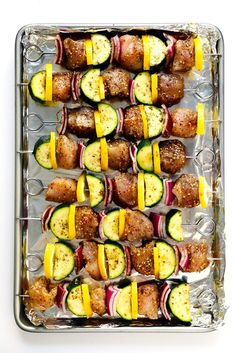 This easy Za'atar Chicken and Vegetable Kabobs recipe is easy to make with your favorite kind of veggies, and tossed with the most delicious lemon za'atar seasoning. Perfect for the grill or roasting in the oven, and naturally gluten-free. Grilled Vegetable Skewers, Veggie Skewers, Grilled Vegetables, Chicken And Vegetables, Veggies, Chicken Steak, Oven Roasted Chicken, Chicken Skewers, Zatar Recipes