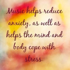 """Music helps reduce anxiety, as well as helps the mind and body cope with stress. I Love Music, Music Is Life, My Music, Music Lyrics, Music Quotes, Me Quotes, Test Anxiety, Coping With Stress, Music Heals"