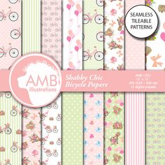 Bicycle Digital Papers, 1353 by AMBillustrations on @creativemarket