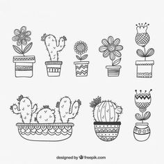 Pack of beautiful cactus Doodle Drawings, Doodle Art, Doodles, Bullet Journal Inspiration, Embroidery Patterns, Flower Embroidery, Coloring Pages, How To Draw Hands, Crafts