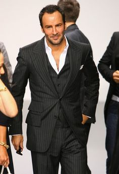 Tom Ford: pinstripe three piece suit, no tie