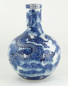 "Large and rare blue and white Chinese bottle vase, 18 1/2""."