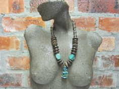 African Beaded Necklace,Semi Precious Stones,Glass Beads, Ethnic, Handmade, Chunky, Wooden Beads, Aged Metallized Beads