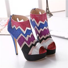 Euro Style 2016 Party Shoes For Women Multi Colored Extreme High Heels New Spring Autumn Sexy Platform Open Toe Fashion