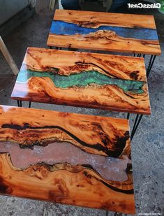 Diy Resin Wood Table, Epoxy Resin Table, Rustic Crafts, Wood Crafts, Diy Table Top, Resin Furniture, Acrylic Table, Diy Resin Crafts, Wooden Projects